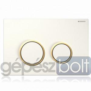 Geberit Sigma20 nyomólap, fehér / aranyozott / fehér színben