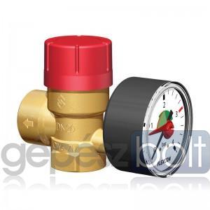 """Flamco Prescomano biztonsági  szelep nyomásmérővel 3/4"""" - 3/4"""", 3 bar"""