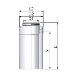 Tricox PPs/Alu cső 80/125mm hossz 1000mm