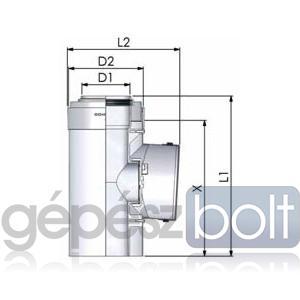 Tricox PPs/Alu ellenőrző egyenes idom 80/125mm