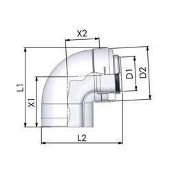 Tricox PPs/Alu ellenőrző könyök 80/125mm 90°