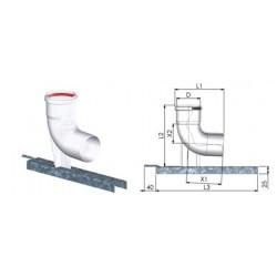 Tricox PPs bekötő könyök 110mm tartó sínnel
